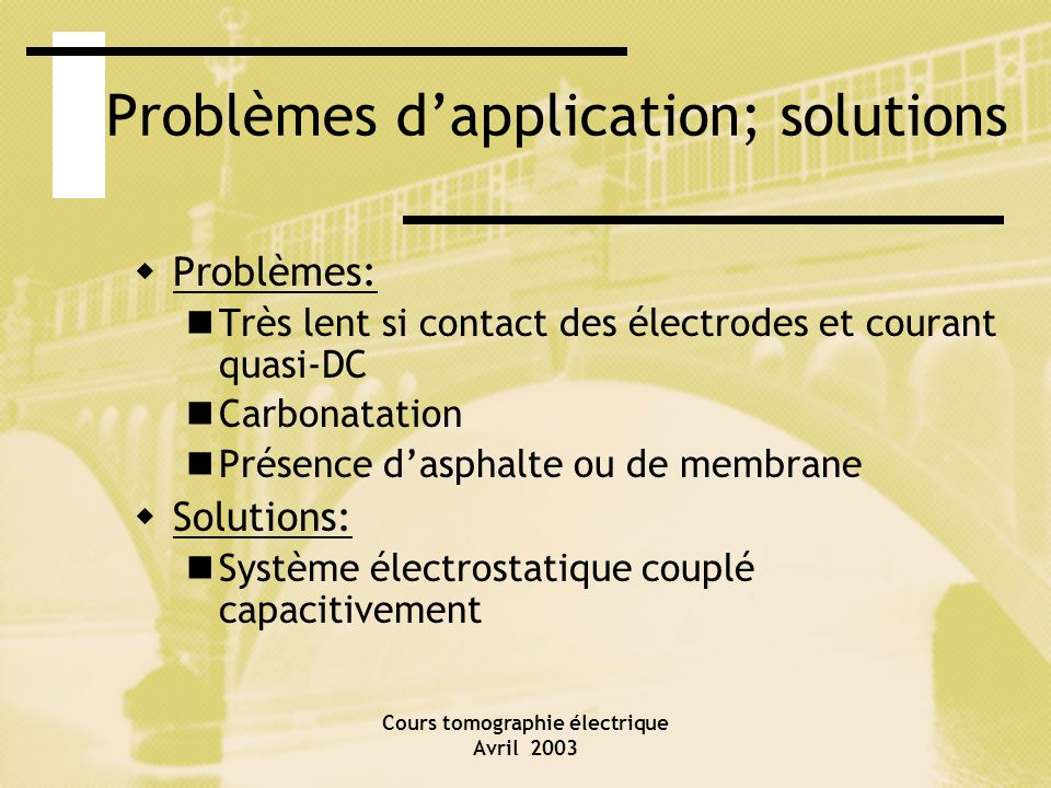 Problèmes d'application; solutions