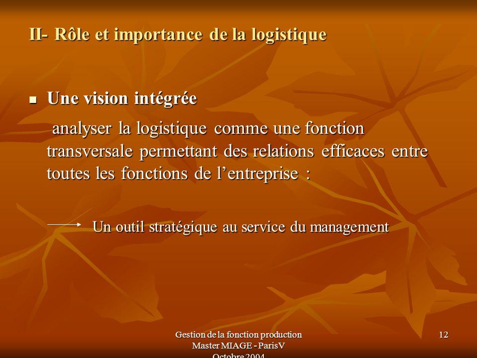 II- Rôle et importance de la logistique