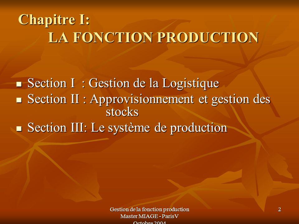 Chapitre I: LA FONCTION PRODUCTION