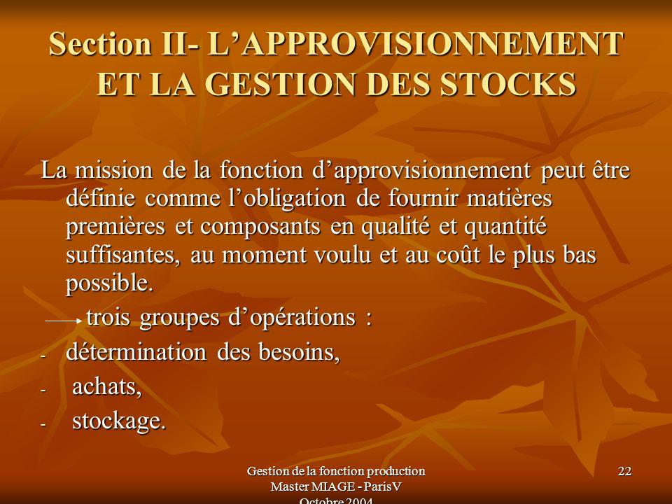 Section II- L'APPROVISIONNEMENT ET LA GESTION DES STOCKS