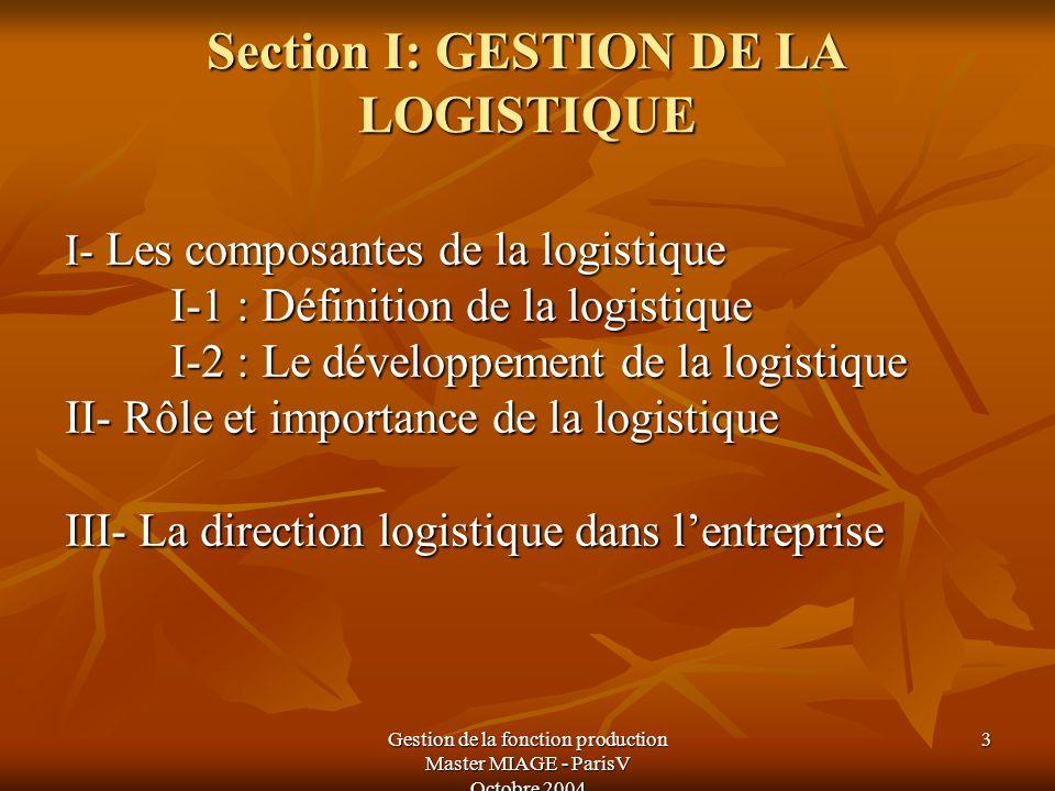 Section I: GESTION DE LA LOGISTIQUE