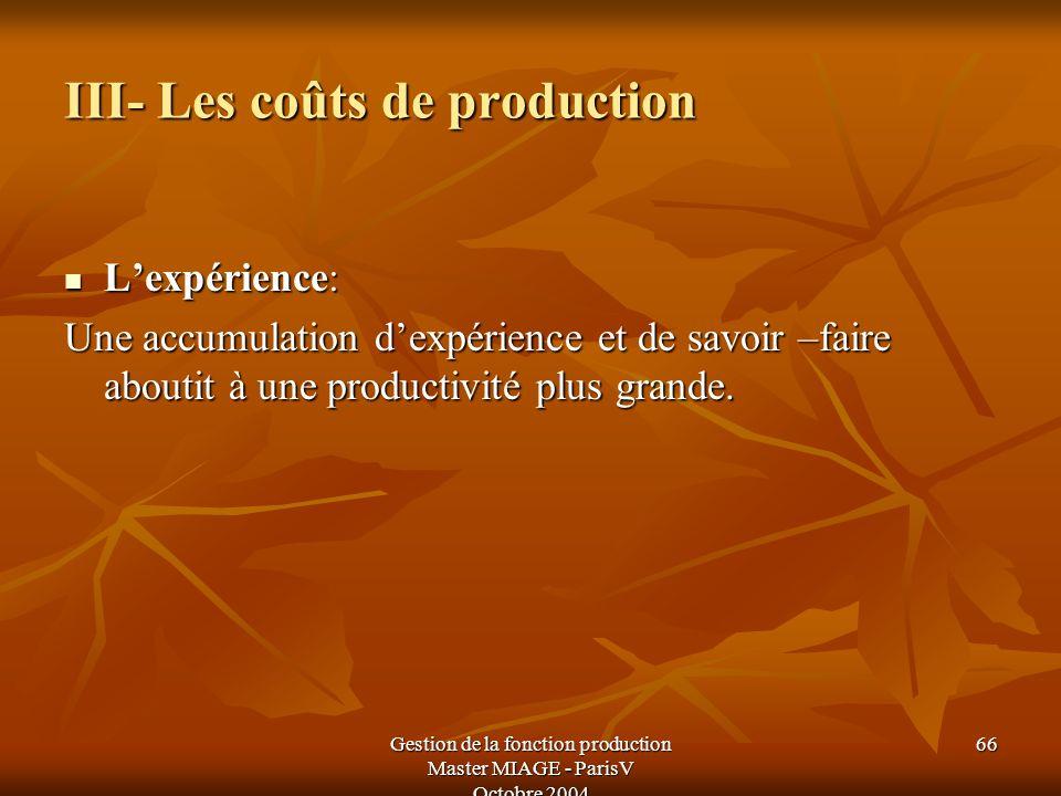III- Les coûts de production