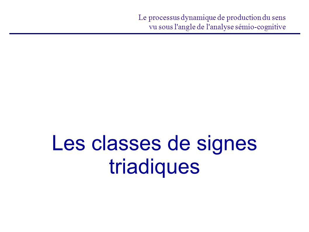 Les classes de signes triadiques