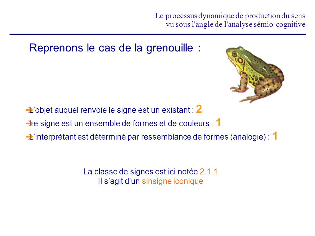 Reprenons le cas de la grenouille :