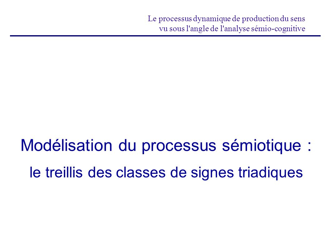 Modélisation du processus sémiotique :