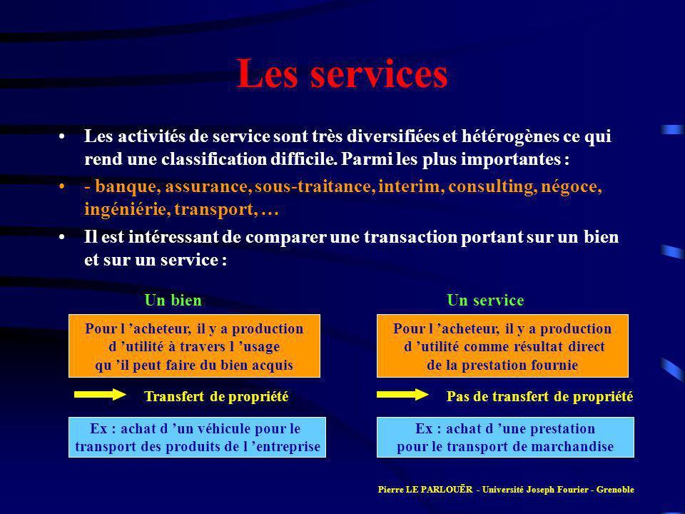 Les services Les activités de service sont très diversifiées et hétérogènes ce qui rend une classification difficile. Parmi les plus importantes :