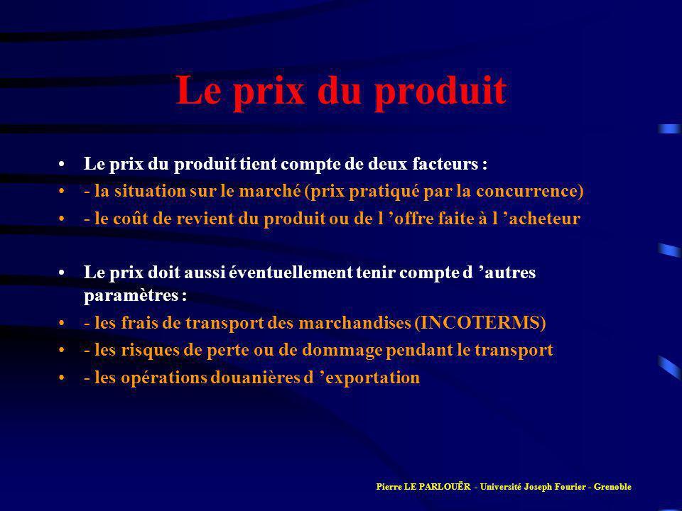 Le prix du produit Le prix du produit tient compte de deux facteurs :