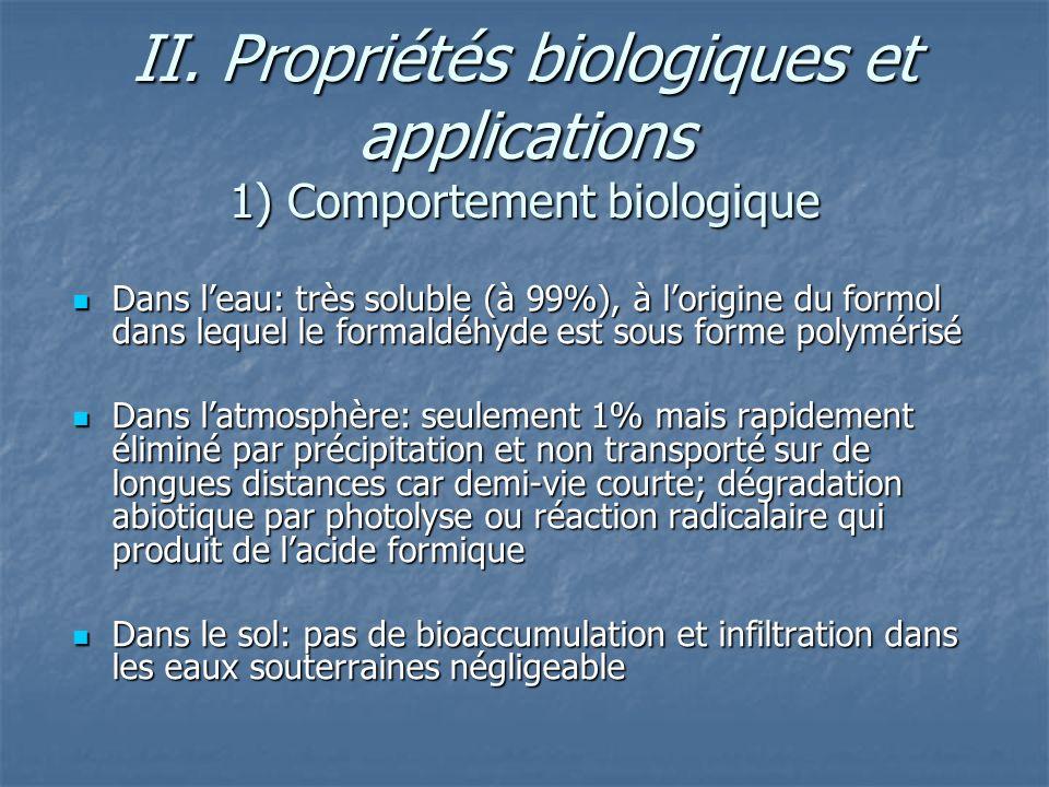 II. Propriétés biologiques et applications 1) Comportement biologique