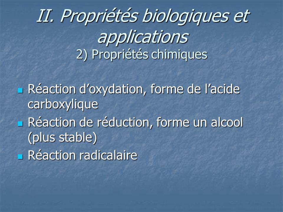 II. Propriétés biologiques et applications 2) Propriétés chimiques