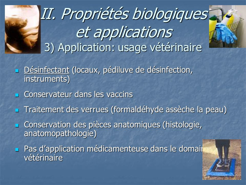 II. Propriétés biologiques et applications 3) Application: usage vétérinaire