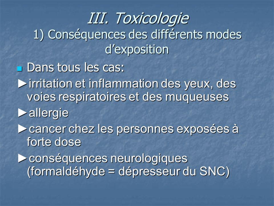 III. Toxicologie 1) Conséquences des différents modes d'exposition