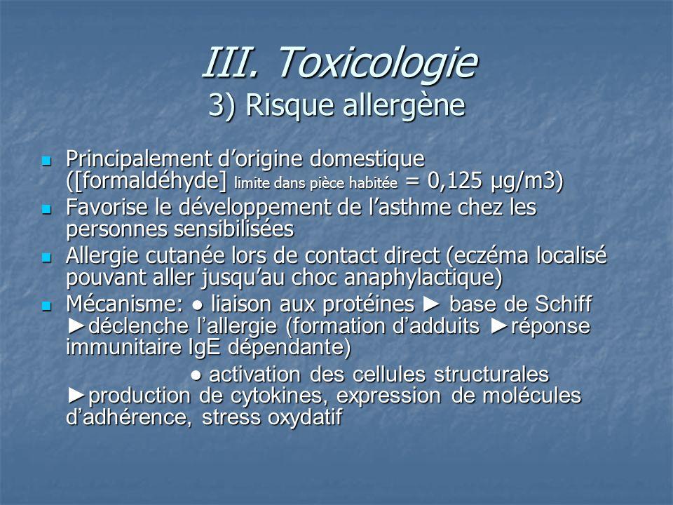 III. Toxicologie 3) Risque allergène
