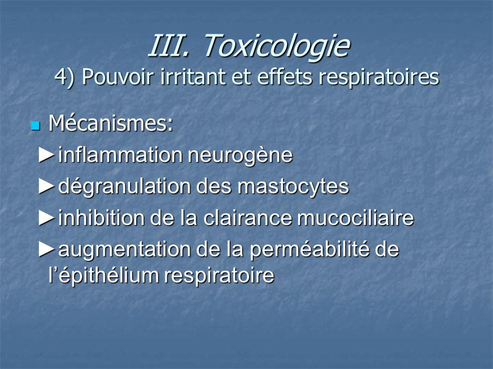 III. Toxicologie 4) Pouvoir irritant et effets respiratoires