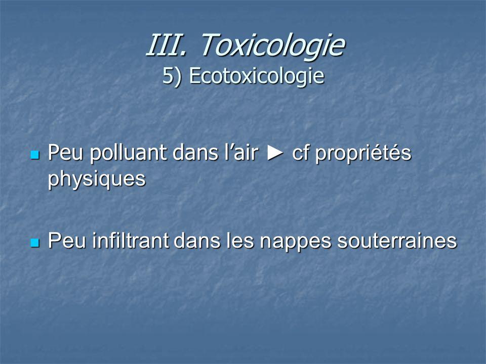 III. Toxicologie 5) Ecotoxicologie