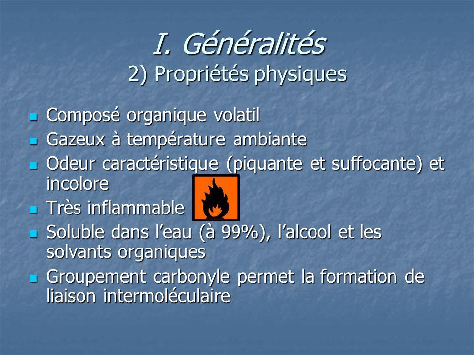 I. Généralités 2) Propriétés physiques