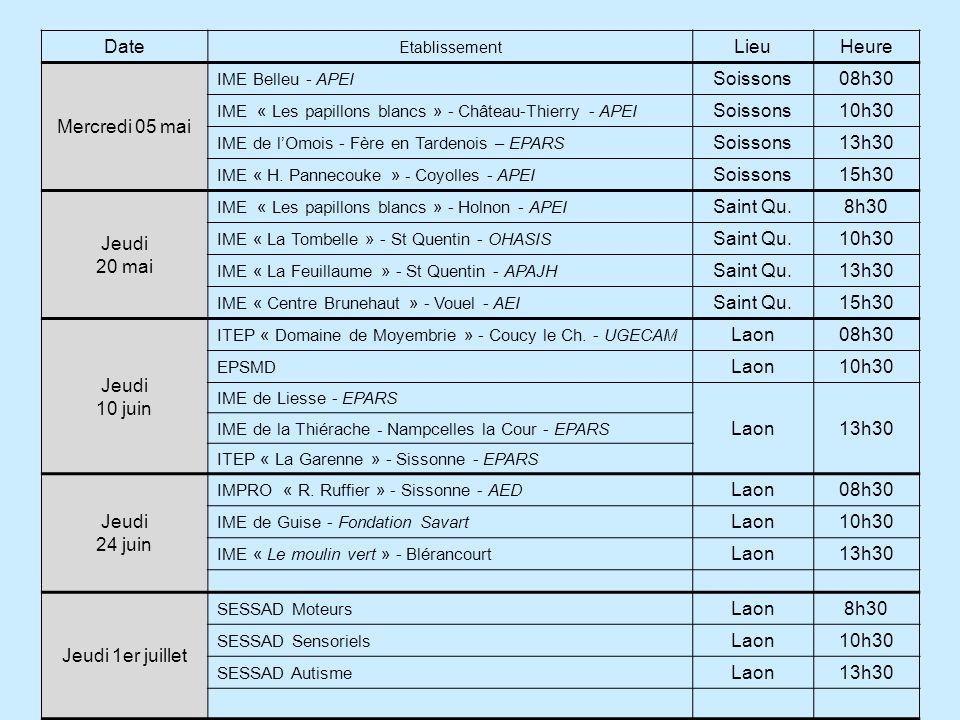 Date Lieu Heure Mercredi 05 mai Soissons 08h30 10h30 13h30 15h30 Jeudi