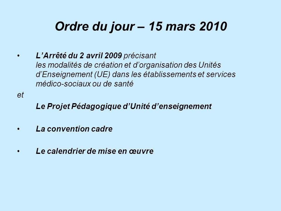 Ordre du jour – 15 mars 2010