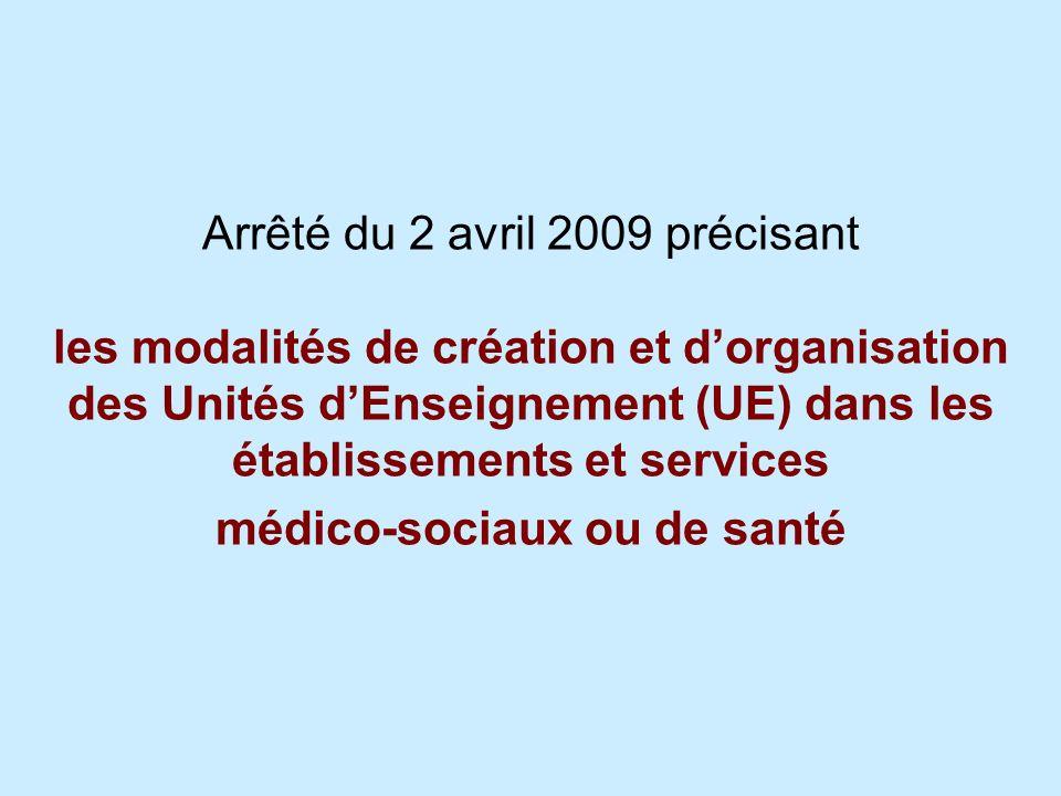 Arrêté du 2 avril 2009 précisant les modalités de création et d'organisation des Unités d'Enseignement (UE) dans les établissements et services médico-sociaux ou de santé