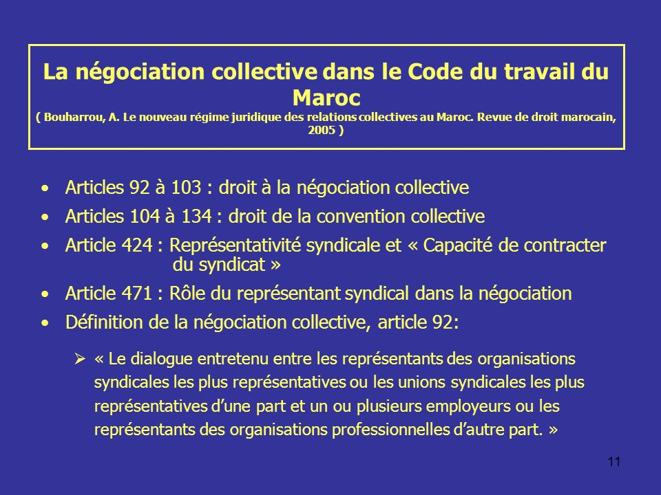 La négociation collective dans le Code du travail du Maroc ( Bouharrou, A. Le nouveau régime juridique des relations collectives au Maroc. Revue de droit marocain, 2005 )