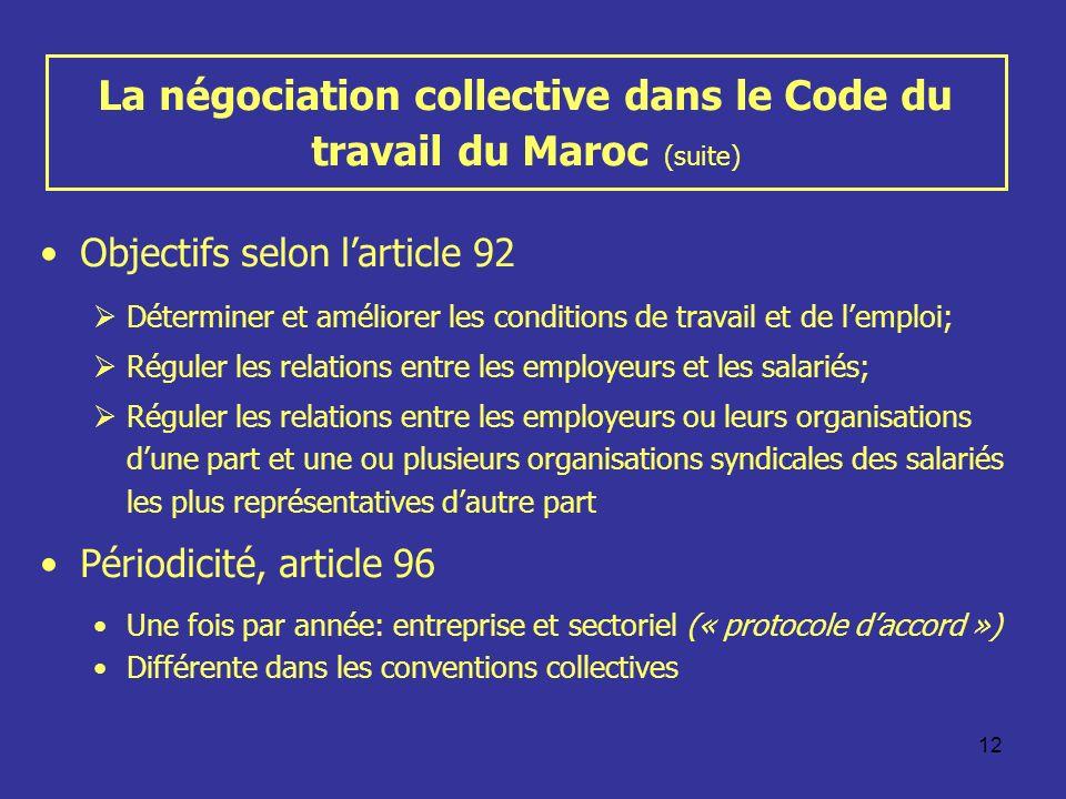 La négociation collective dans le Code du travail du Maroc (suite)