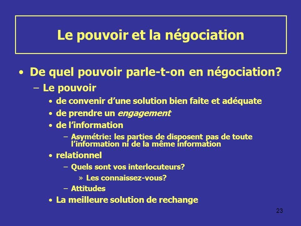Le pouvoir et la négociation