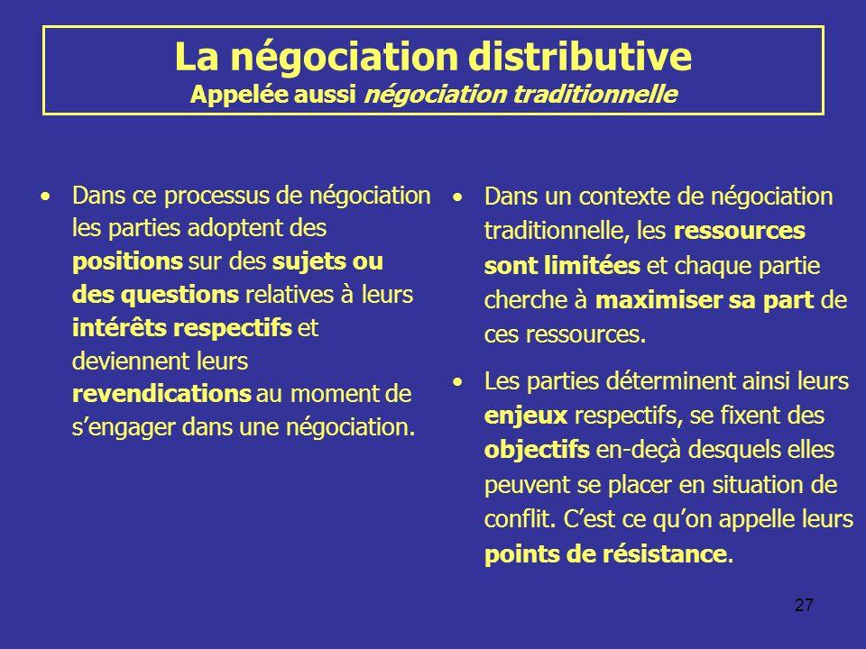 La négociation distributive Appelée aussi négociation traditionnelle