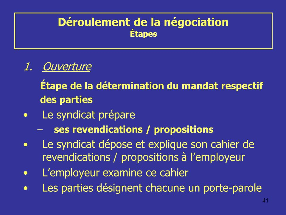 Déroulement de la négociation Étapes