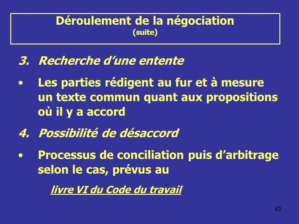 Déroulement de la négociation (suite)