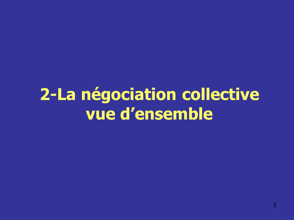 2-La négociation collective vue d'ensemble