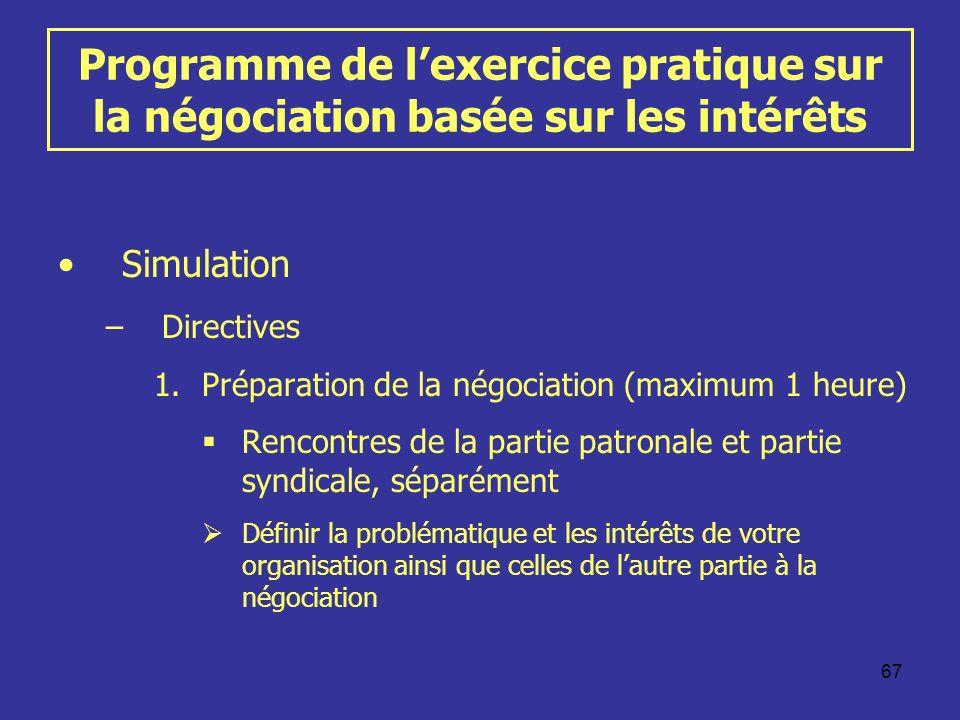 Programme de l'exercice pratique sur la négociation basée sur les intérêts
