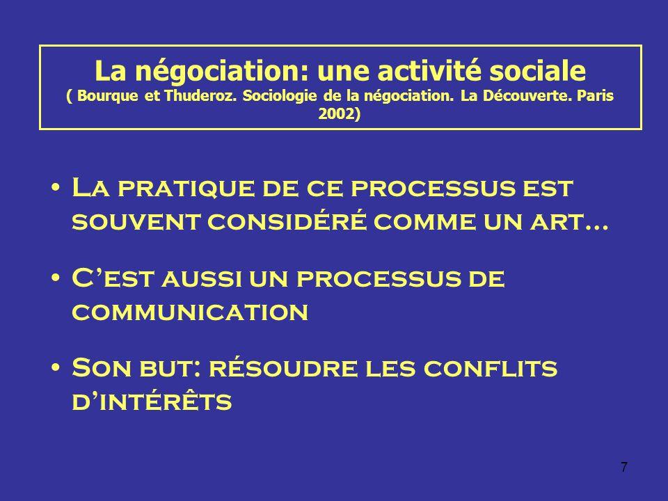 La négociation: une activité sociale ( Bourque et Thuderoz