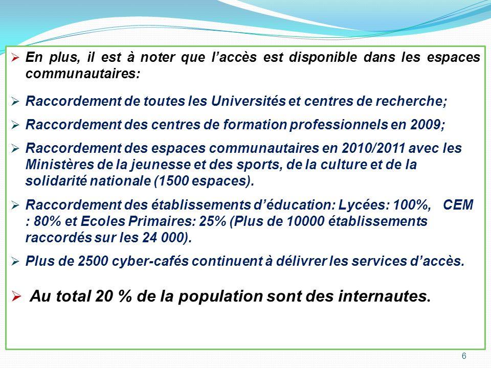 Au total 20 % de la population sont des internautes.