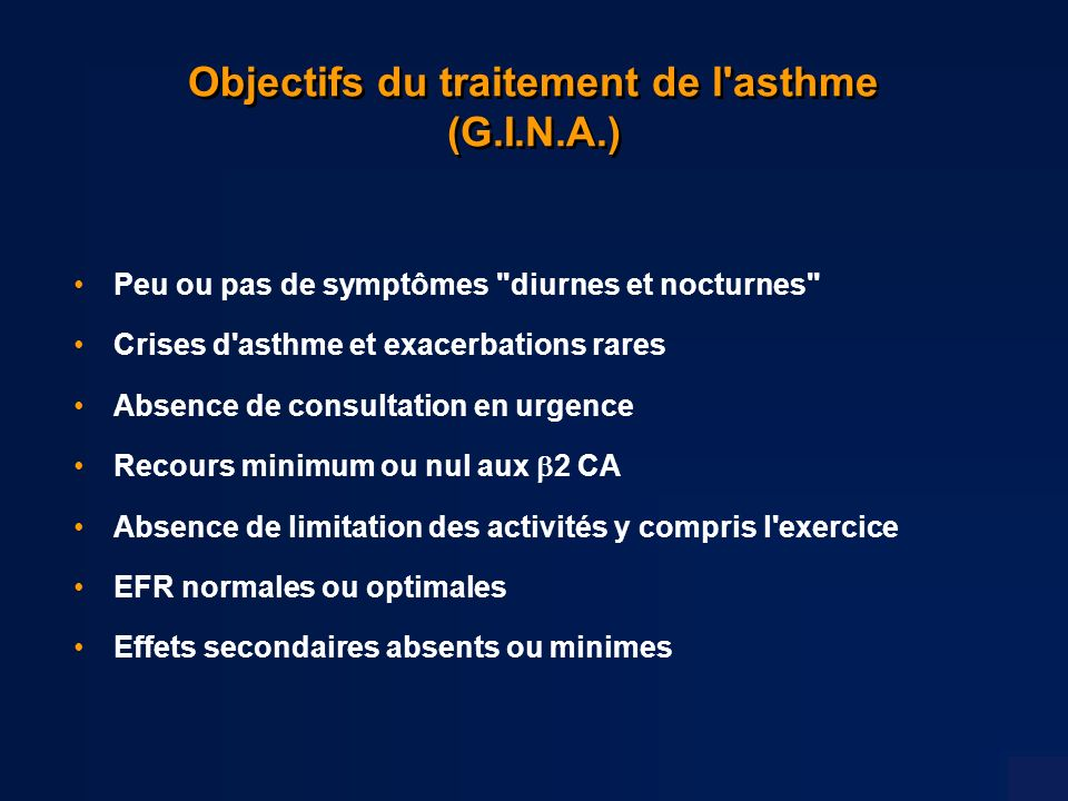 Objectifs du traitement de l asthme (G.I.N.A.)