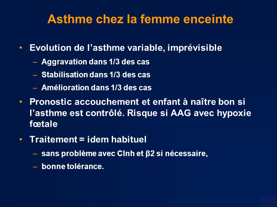 Asthme chez la femme enceinte