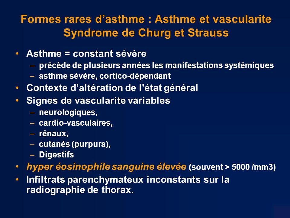 Formes rares d'asthme : Asthme et vascularite Syndrome de Churg et Strauss