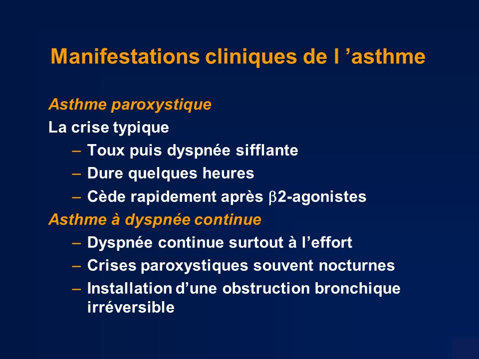Manifestations cliniques de l 'asthme