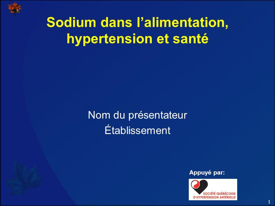 Sodium dans l'alimentation, hypertension et santé