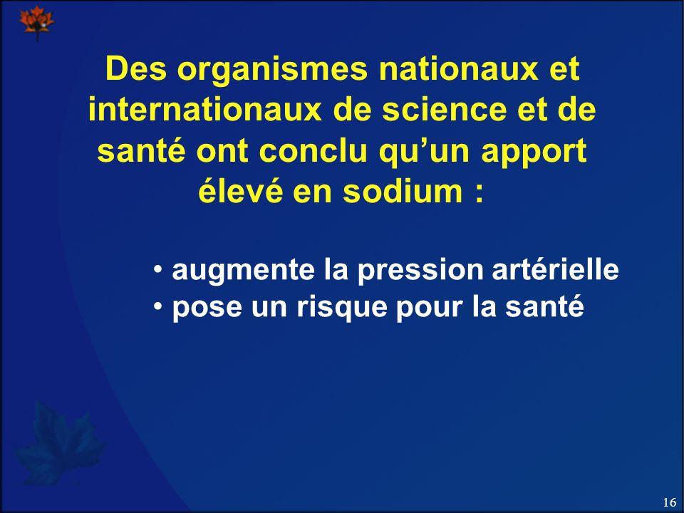 Des organismes nationaux et internationaux de science et de santé ont conclu qu'un apport élevé en sodium :