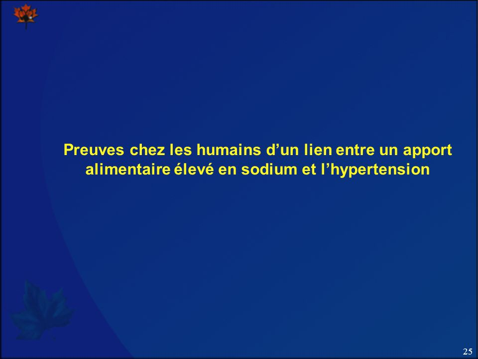 Preuves chez les humains d'un lien entre un apport alimentaire élevé en sodium et l'hypertension