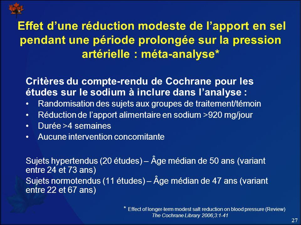 Effet d'une réduction modeste de l'apport en sel pendant une période prolongée sur la pression artérielle : méta-analyse*