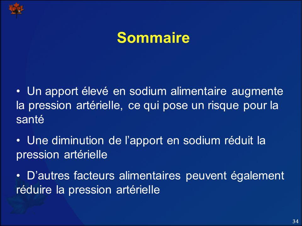Sommaire Un apport élevé en sodium alimentaire augmente la pression artérielle, ce qui pose un risque pour la santé.