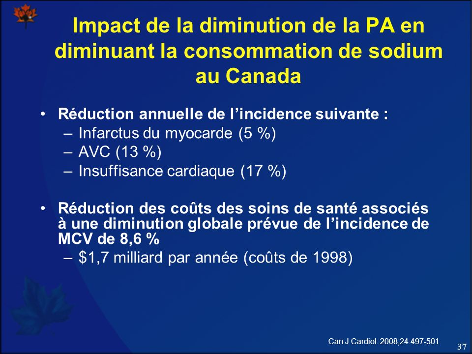 Impact de la diminution de la PA en diminuant la consommation de sodium au Canada