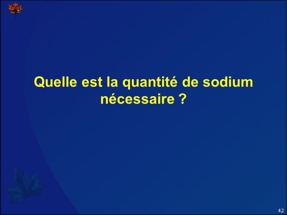 Quelle est la quantité de sodium nécessaire