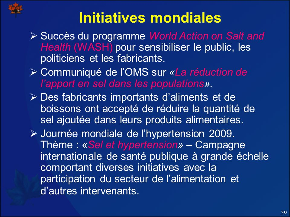 Initiatives mondiales