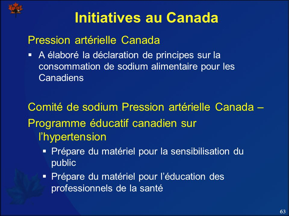 Initiatives au Canada Pression artérielle Canada