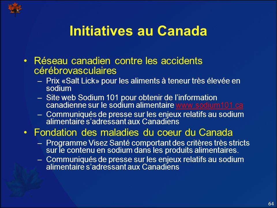 Initiatives au Canada Réseau canadien contre les accidents cérébrovasculaires. Prix «Salt Lick» pour les aliments à teneur très élevée en sodium.