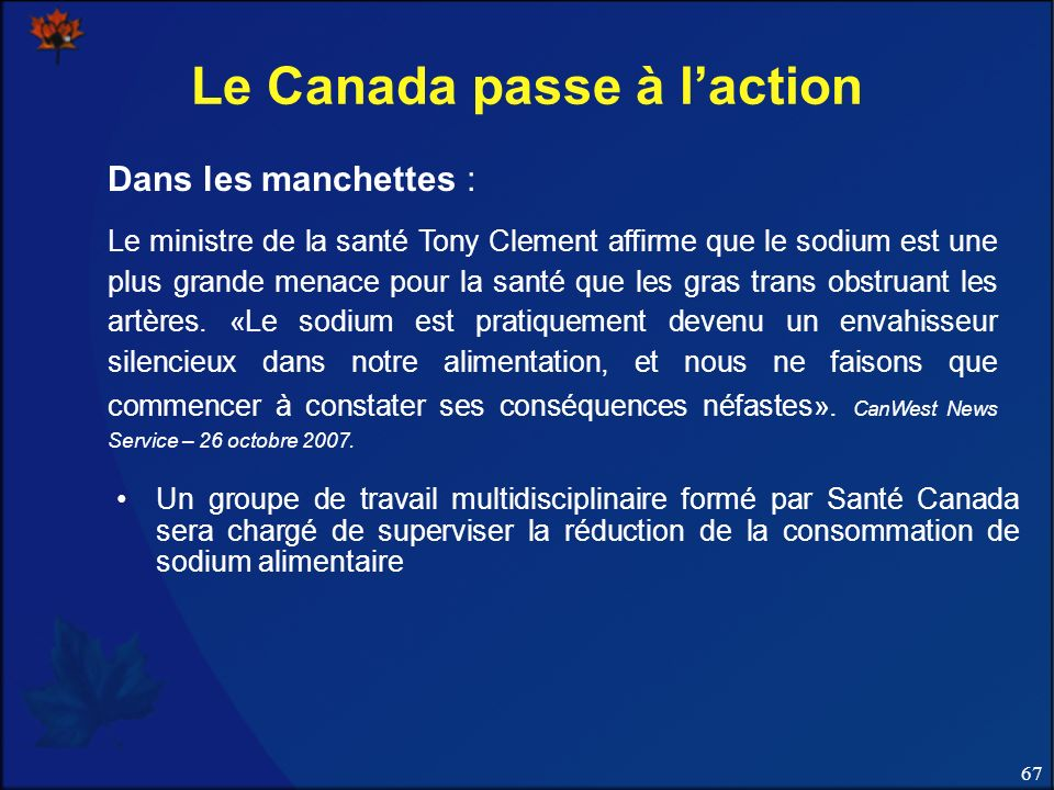 Le Canada passe à l'action