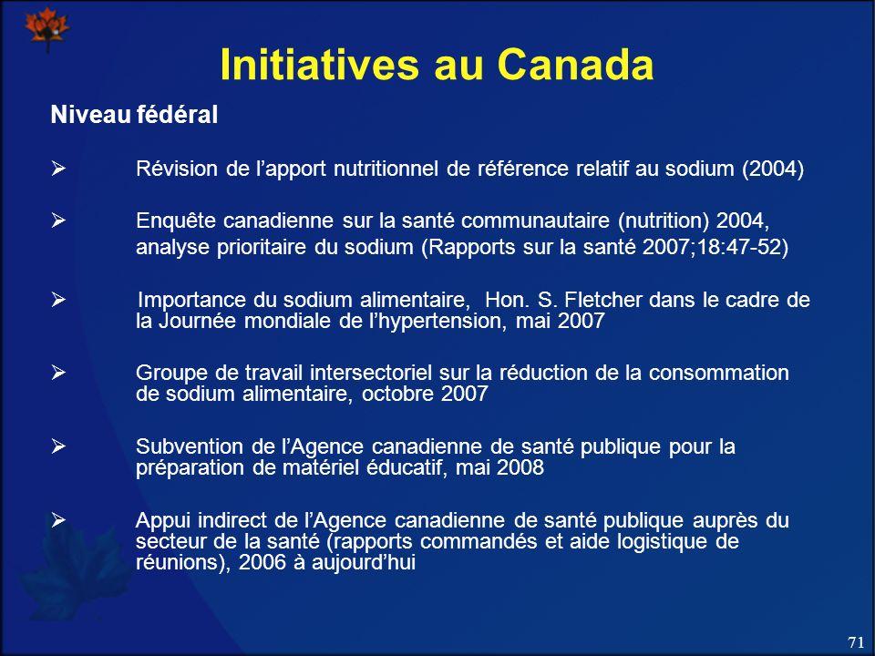 Initiatives au Canada Niveau fédéral