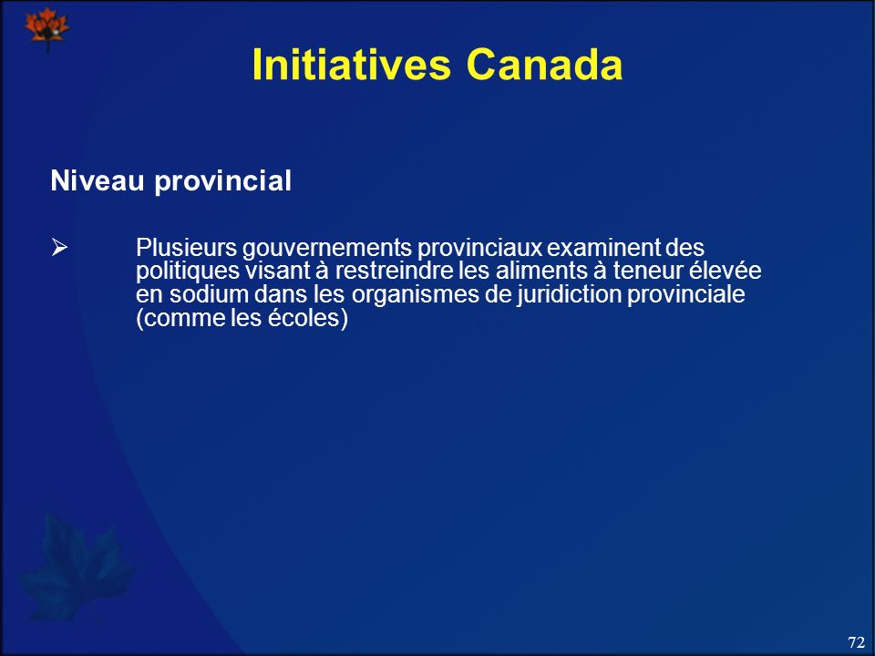 Initiatives Canada Niveau provincial