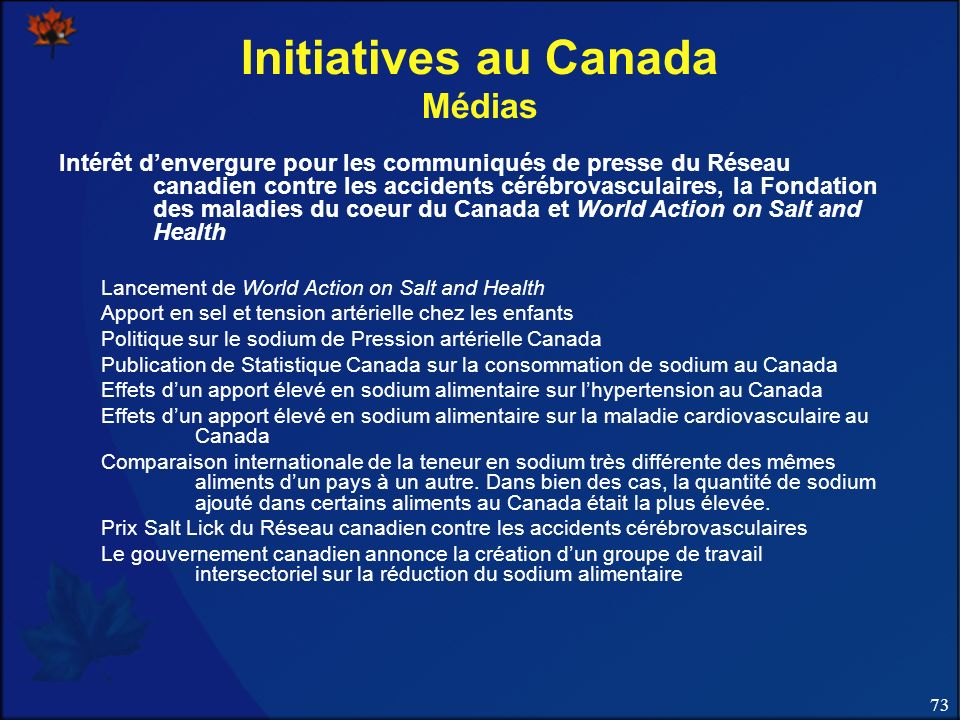 Initiatives au Canada Médias